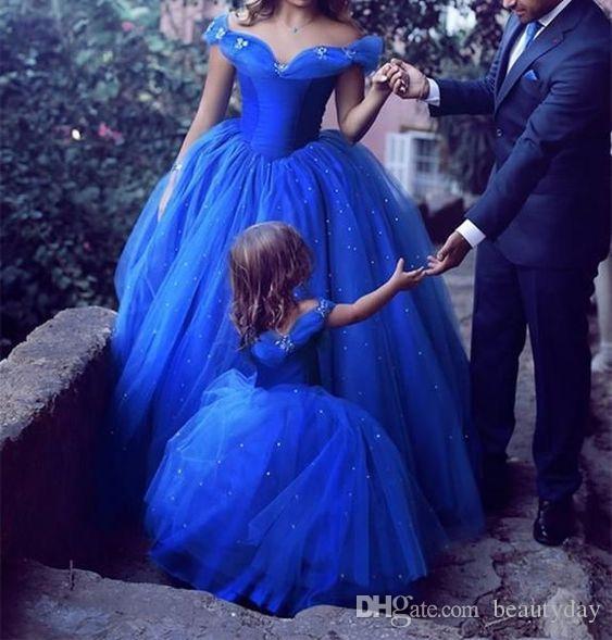 Schulterfrei Formelle Abendkleider Tragen Lange Party Abendkleider Mutter Und Tochter Festzug Celebrity Kleider Arabisch High Split