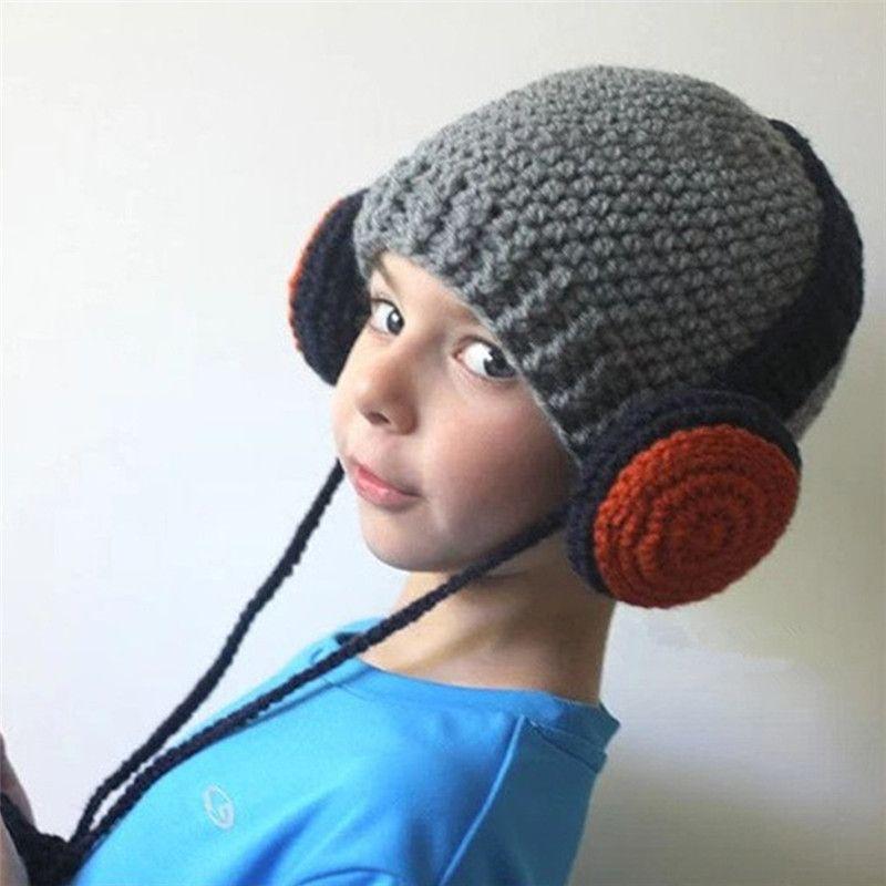 Cute Kids Beanie Headphones Design 100% Handmade Knitted Hat Earflap Windproof Cap for Boys Girls (40-46cm)