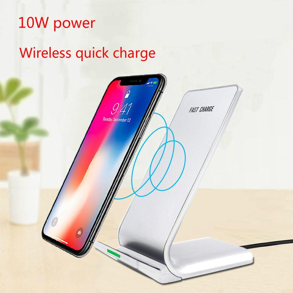 Chargeur sans fil, Qi certifié 10W stand chargeur sans fil rapide, adapté pour iPhoneX Galaxy S9 / S9 + Note 8 / S8 + bord S7 S6 bord +