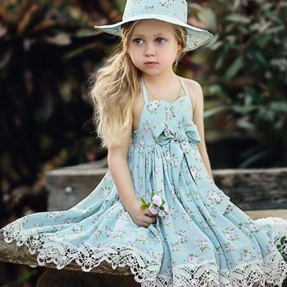 2018 Puseky 2017 Fashion Summer Girl Dresses Wedding Party Children ...