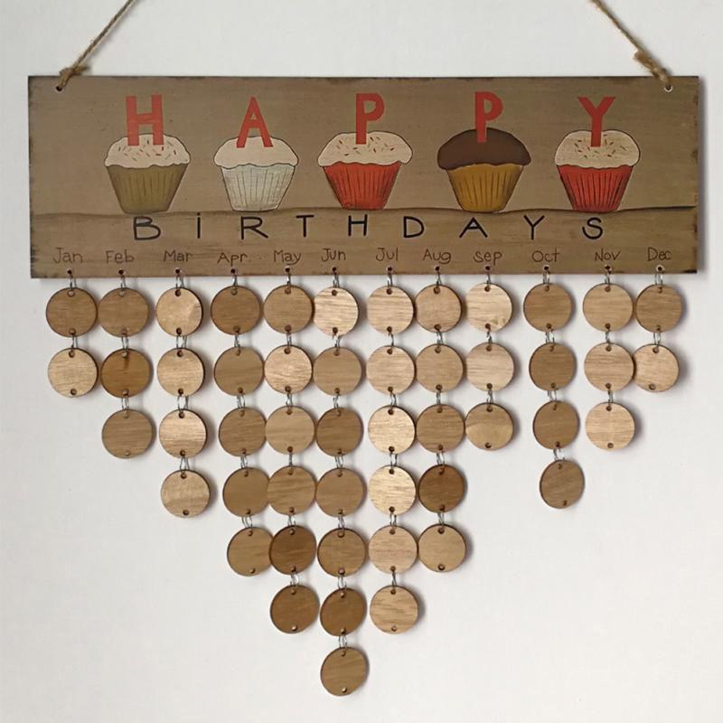 Wooden Happy Birthday Reminder Sign DIY Calendar Board Friends & Family Printed Wall Calendar Date Mark Wall Calendar Gifts 14 Styles