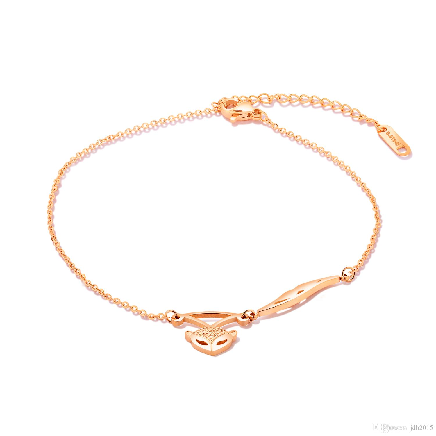 Exquisite Stainless Steel Fox Charm Link Chain Anklet Cute Rose Gold Tone Foot Bracelet