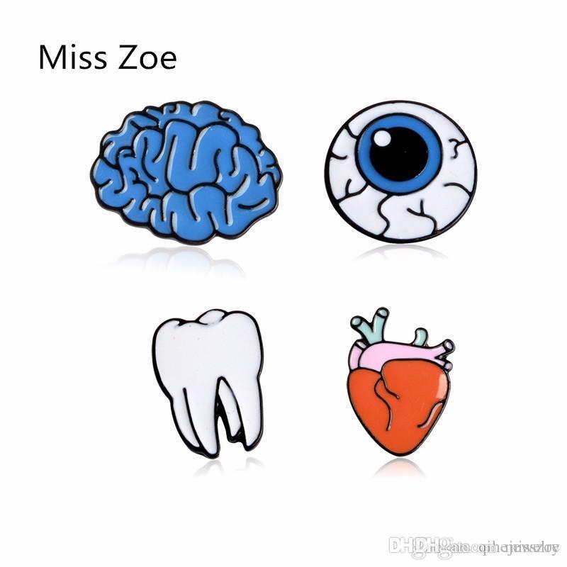 Cute Cartoon Organ cerveau coeur d'oeil dent Bouton métal Broche Broches Broches Broche Denim Veste Epingle drôle cadeau Bijoux Fashion