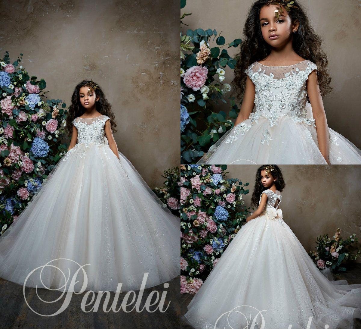 Pentelei 2019 de bola del vestido vestidos de niña para las bodas Joya Applqiues florales de encaje vestido del desfile de las muchachas 3D cuello con arco apliques de perlas