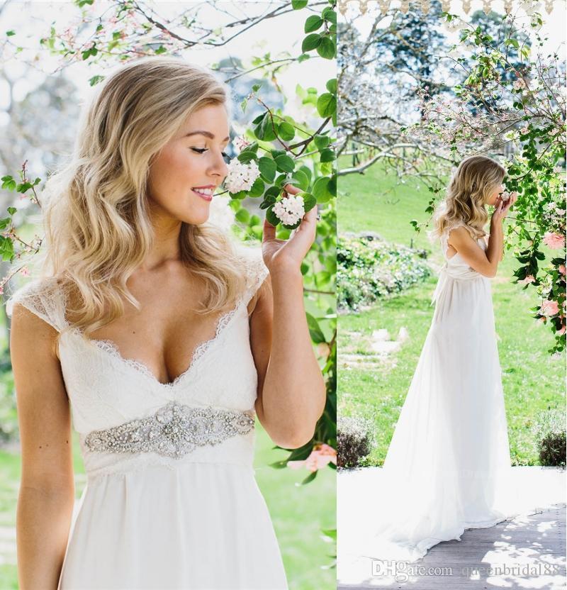 2018 Reich Brautkleider mit Perlen Sash Lace Schulterfrei Brautkleider China Chiffon Country A Line Dress