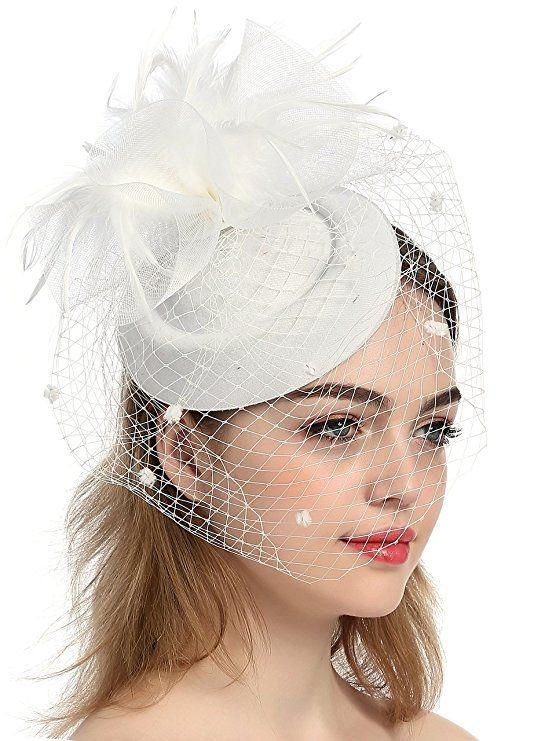 Exquisite Vintage White Fascinator Sinamany Hüte für Hochzeit Braut Kirche, mit Blumen Tüll, Eoupean Style, Kentucky Derby Hüte