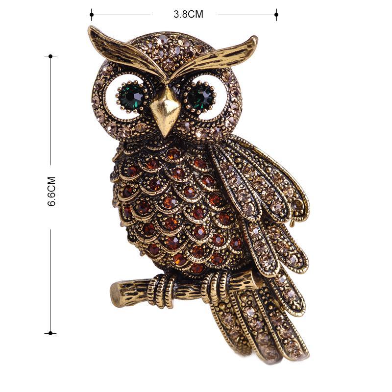 Madrry Alliage Métal Big Owl Broches Pour Femmes Hommes Strass Bouquet Vintage Hijab Pin Écharpe Boucle Clips