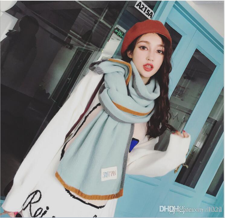 2017 sul coreano tricô cachecol de lã é uma correspondência de cor pura em torno do pescoço espessamento amantes quentes cachecol