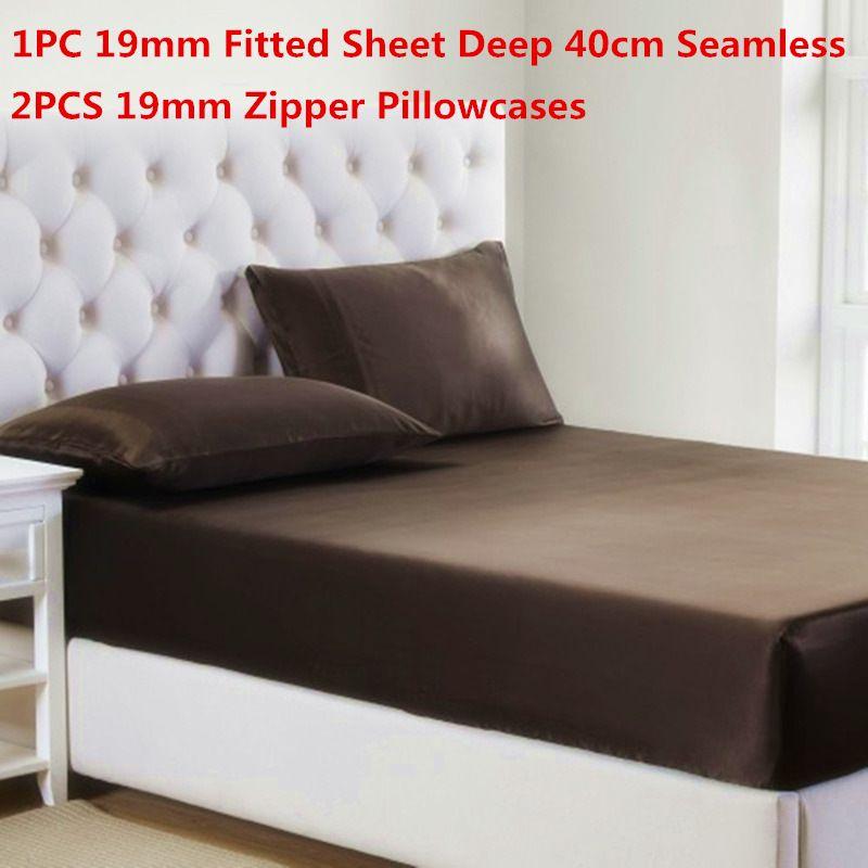 100% juegos de cama de seda de morera 3PCS 19MM de seda equipada hoja de 40 cm SeamlessZipper funda de almohada de alta calidad juegos de sábanas de seda