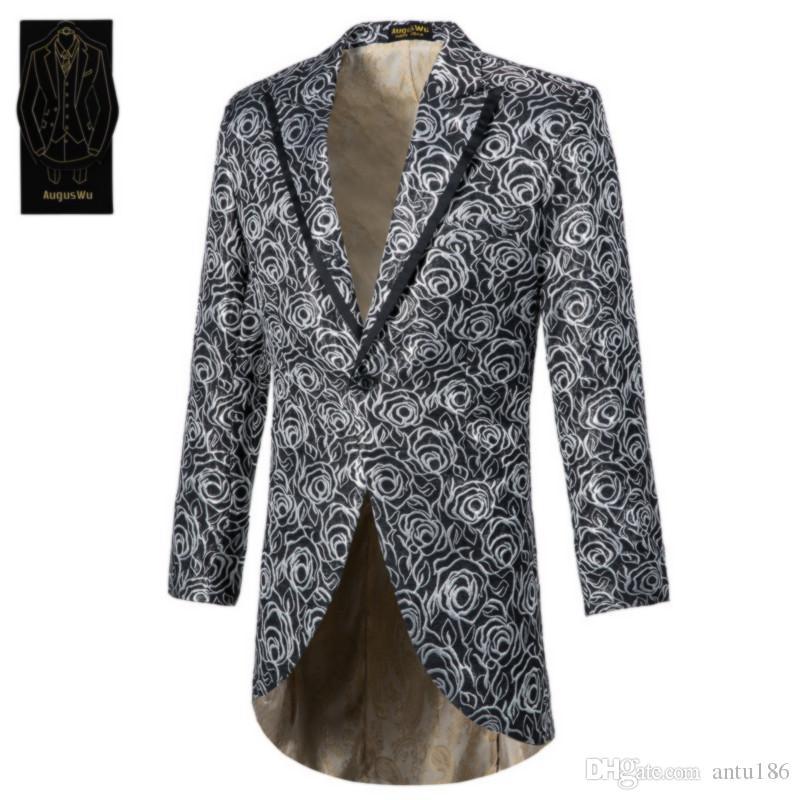 Yeni popüler erkek tek düğme smokin suit iki parça bir takım elbise (ceket + pantolon) erkek moda ince jakarlı suit destek özel