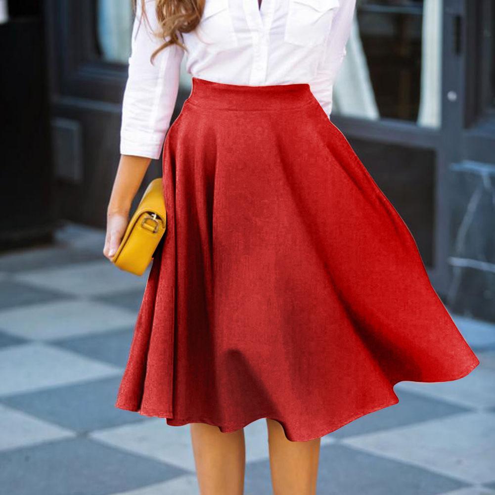 5f9c76e289956 2018 Vintage Women Skirt Summer Stretch High Waist Skater Jupe Femme Flared  Pleated Skirts Womens Swing Office Skirt From Lookpack, $29.67 | ...