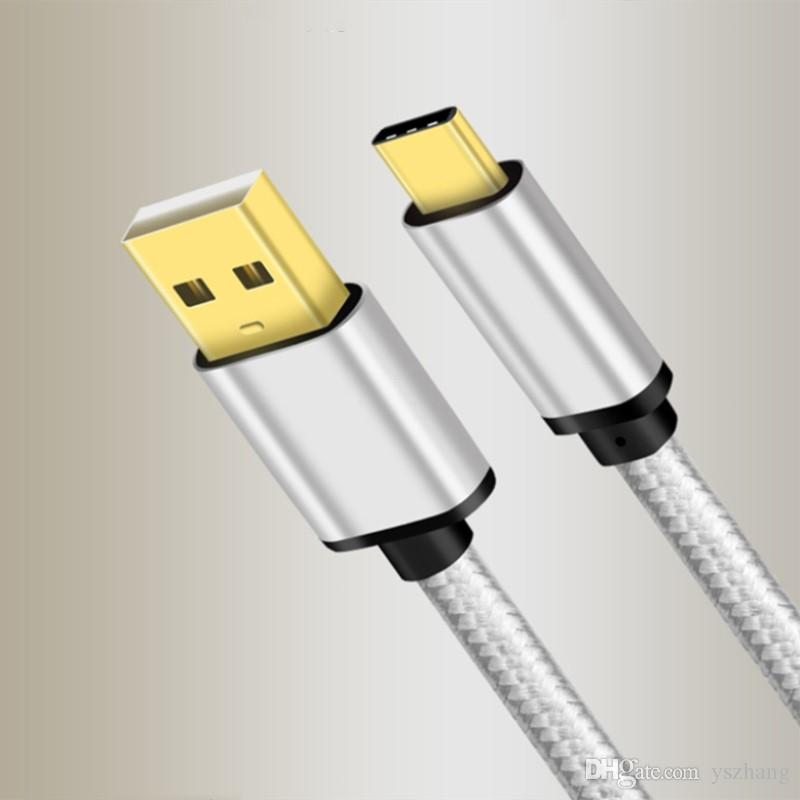 كابل بيانات من النوع C لـ Samsung Note8 S8 لكابل شحن سريع Xiaomi كابل USB من النوع C مع شاحن ذهبي الرأس 2M