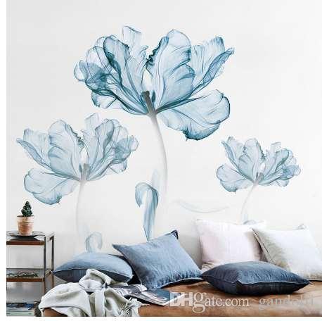 Новый 110 * 180 см большой 3D синий цветок гостиная украшения виниловые наклейки стены DIY Современная спальня Home Decor плакат стены искусства