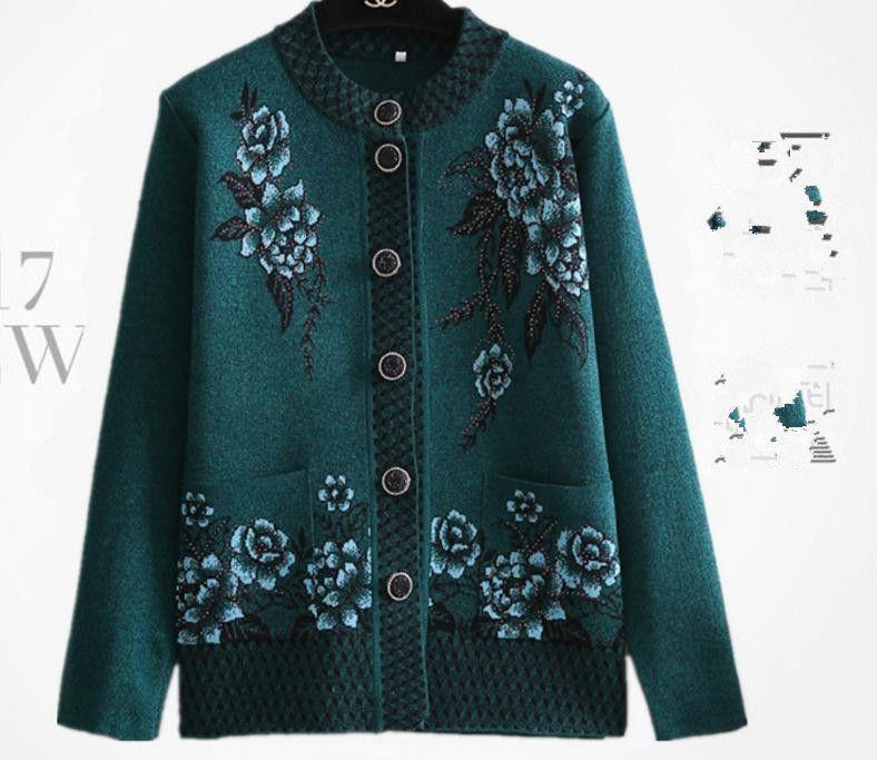 Ücretsiz gönder 2018 yeni stil orta yaşlı ve yaşlı kadın kazak hırka mont sonbahar ve kış