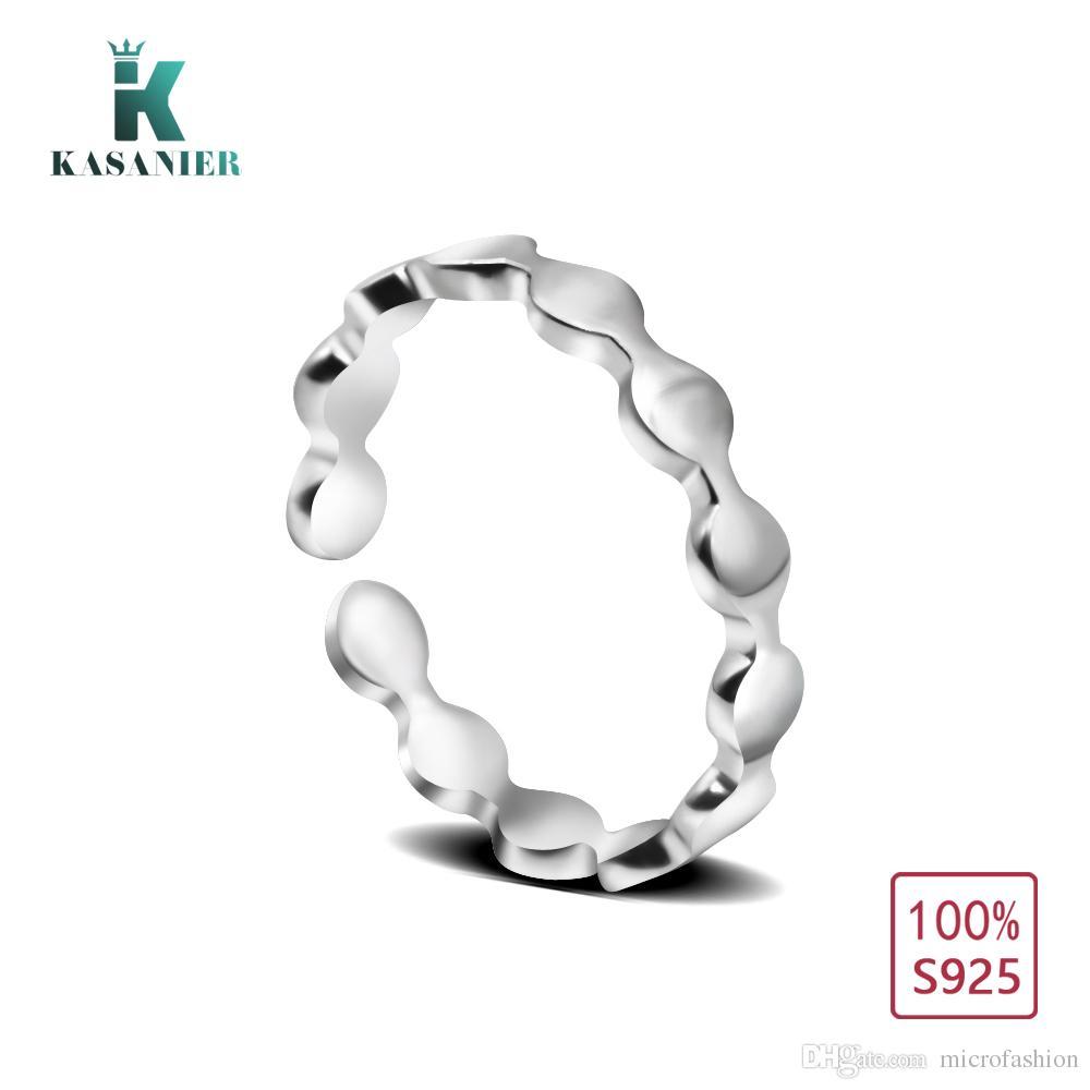 Kasanier 1 قطع أزياء المرأة الدائري 925 خواتم فضة الصلبة فتاة حزب مجوهرات خاتم حجم قابل للتعديل