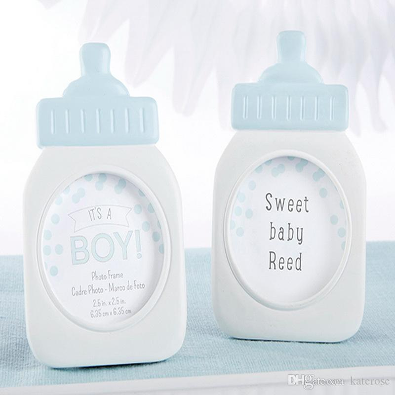 50PCS Its a Boy! Classic Blue Baby Bottle Picture Frame Birthday Party Decor Place Card Holder Baby Boy Shower Favors FREE SHIPPING