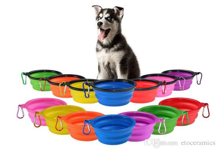 Tazones plegables para mascotas Silicona de grado alimenticio plegable Ampliación de la taza Plato para mascotas Alimentos para gatos Alimentación de agua Tazones portátiles de viaje Mosquetón gratuito
