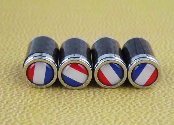 Tyre valve caps stem covers carbon fibre French flag logo