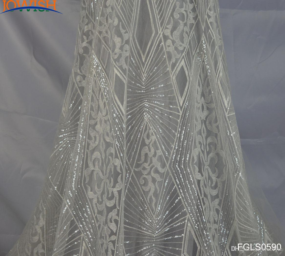 Lastest 3yards Геометрическая Блестки Ткань Вышитые Тюль слоновой кости кружева Ткань для платья венчания ремесленной швейное кружевной ткани