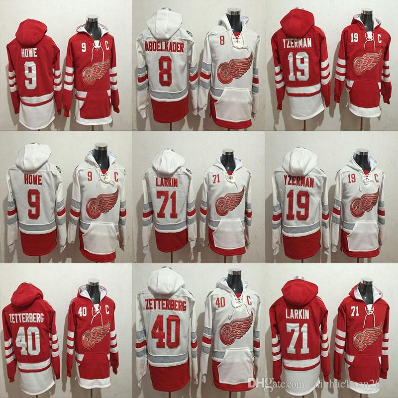 Sudaderas con capucha de Detroit Red Wings 40 Henrik Zetterberg 71 Dylan Larkin 9 Gordie Howe 19 Steve Yzerman 8 Sudadera con capucha Abdelkader Hockey