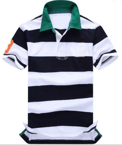 Moda Listrada Camisas de Polo para Homens Primavera Verão Algodão Masculino Esporte Polos de Manga Curta Camiseta de Negócios Top Azul Marinho Verde Vermelho Tamanho S-XXL
