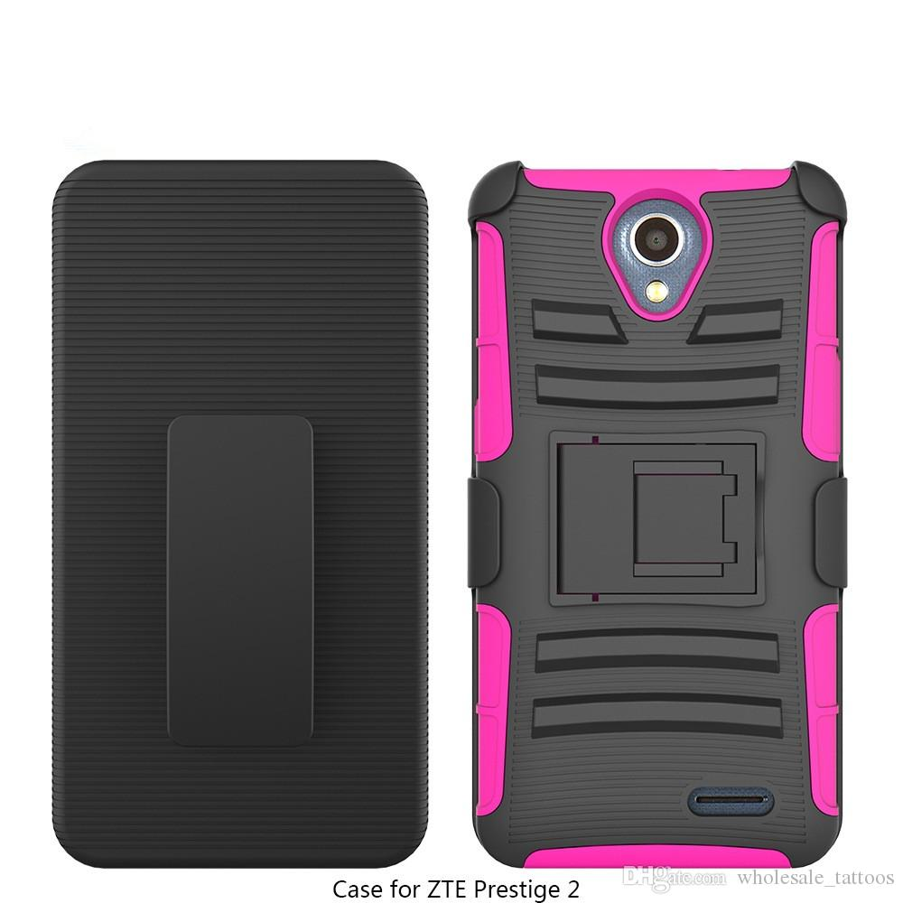 Kickstand Armor Case For ZTE ZMAX GRAND Z916BL Blade Force N9517 Warp 8 Blade X Z965 MaxXL N9560 Protector Case with Belt Clip OPP Bag