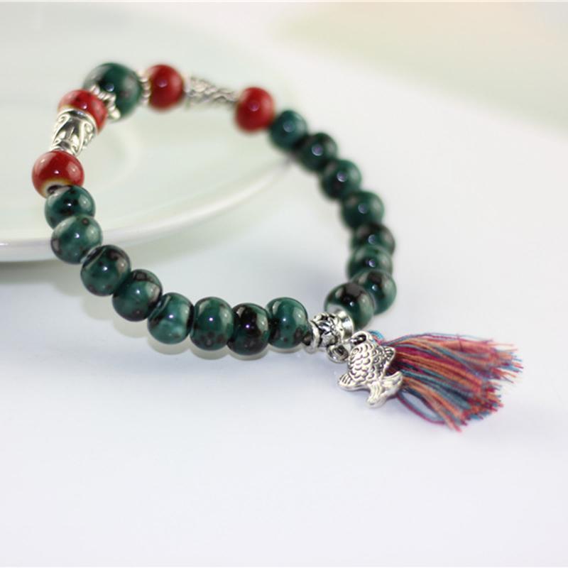 Ethnic Cloisonne Fish Tassel  Bracelets For Women Vintage Handmade Ceramic Tibetan Silver Chinese Style Delicate Bracelet