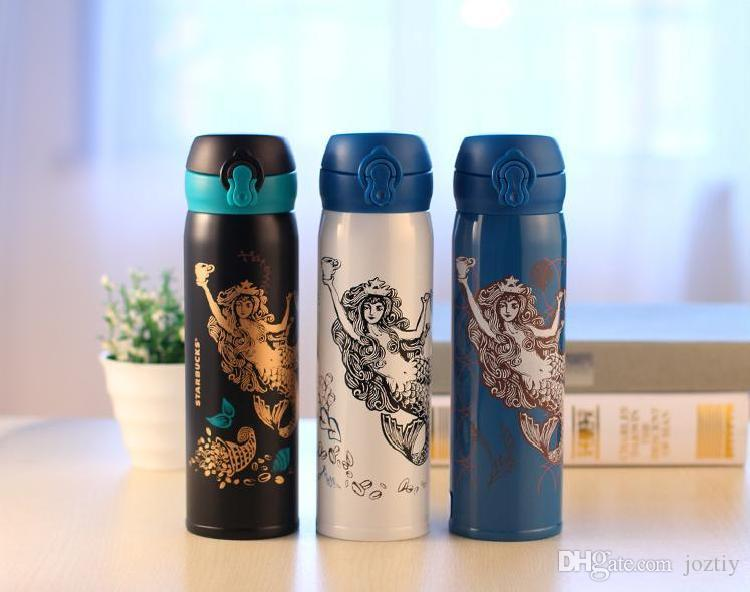 Classic Korea Style Starbucks Mermaid Princess Insulation Cup 450ml White Black Straight Stainless Steel Vacuum Cup Coffee Water Tumbler Customized