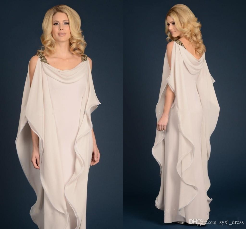 2018 Einfache griechische Göttin Chiffon Mütter Kleid mit Trägern Günstige Bodenlangen Lange Elegante Frauen Kleid