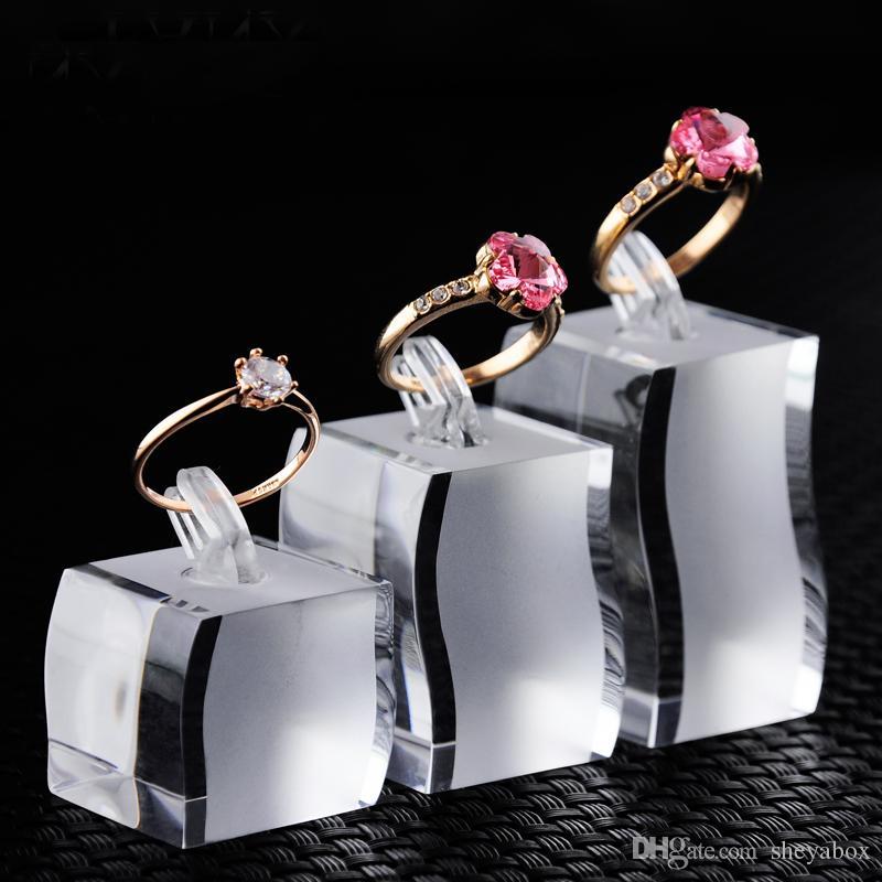 Ювелирные изделия палец кольцо дисплей опора клип держатель акриловые ювелирные изделия бутик счетчик витрина отображает выставка кольца стенд набор из 3