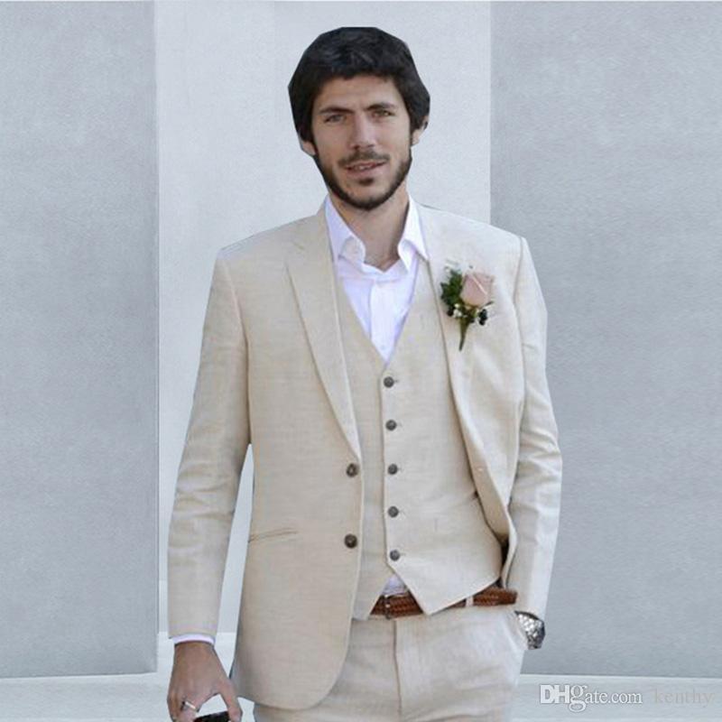 2018 Yaz Bej Plajı Suits Erkekler Keten Düğün Suits Sağdıç Groomsmen Evlilik Smokin Custom Made Man Suit 3piece Slim Fit rahat uygun