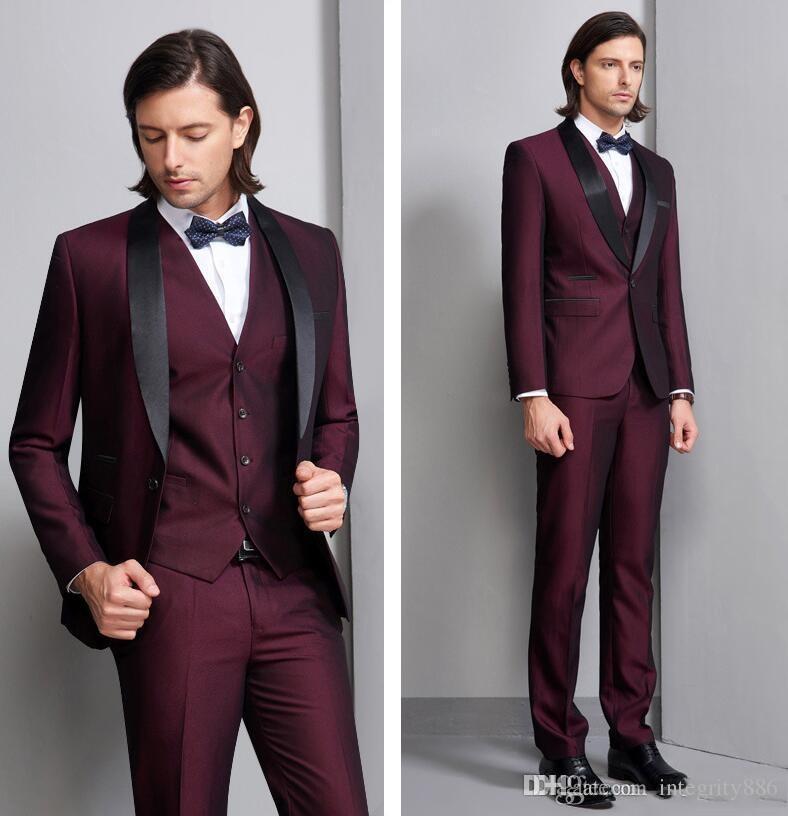 Moda Borgonha 3 Peça Terno Homens Smoking Casamento Excelente Noivo Smoking Moda Masculina de Alta Qualidade Jantar Blazer (Jacket + Pants + Tie + Vest) 465