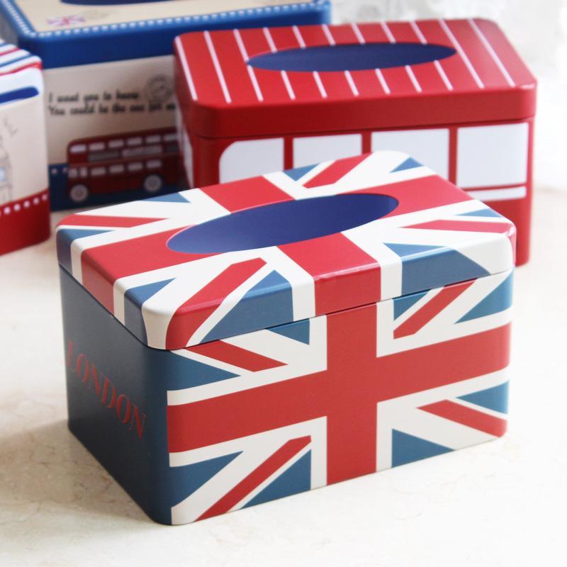 1PC Zakka Home Furnishing Tissue Box Home British Style Iron Tin Tissue Box NL 009