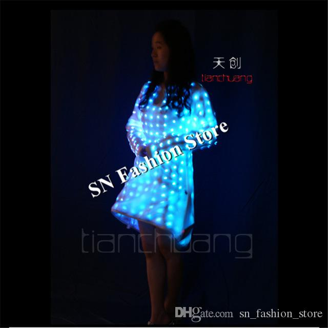 TC-117 LED light colorful ballroom women dress dance costumes dj bar singer stage sexy wears Programmable catwalk models clothes performance