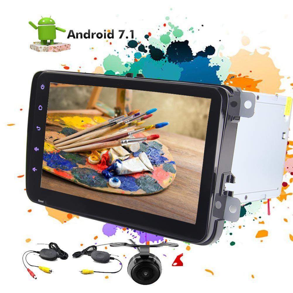 Doble 2 Din en el Dash Player 8 '' GPS de navegación Estéreo Android 7.1 FM AM RDS Radio unidad principal del coche para Volkswagen + cámara inalámbrica