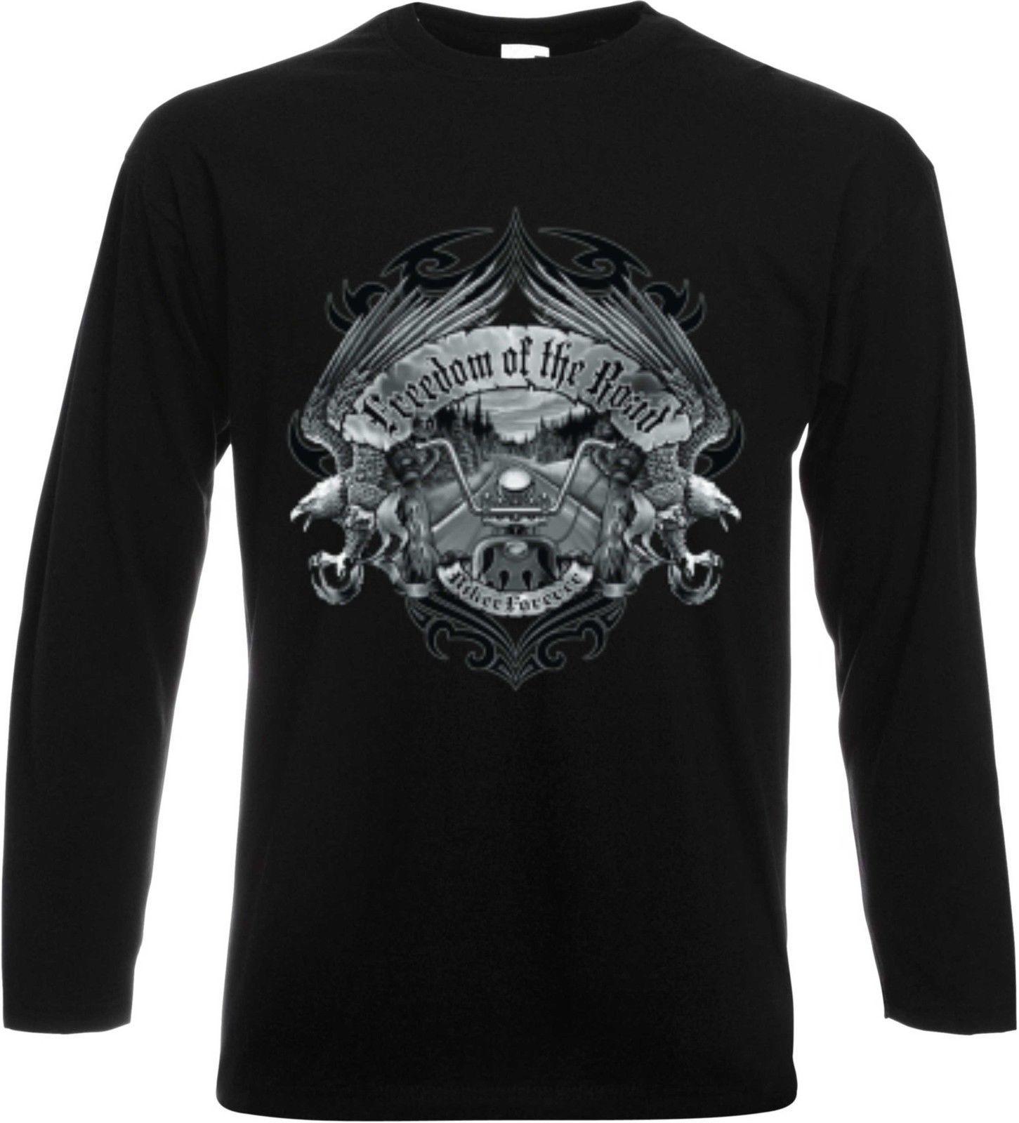 Long Sleeve//Long Sleeve Shirt Black Biker Chopper Hd/&vtwinmodell Freedom of the
