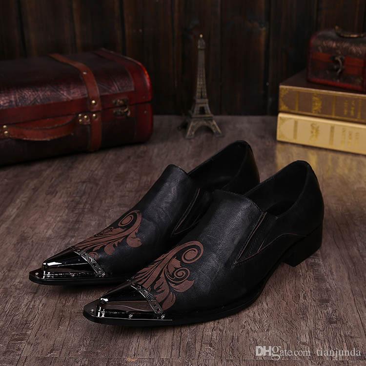 NUOVO 2018 Fashion Man Dress Shoes personalità moda uomo a punta scarpe col tacco alto stilista parrucchiere scarpe da uomo in pelle, US6-US12