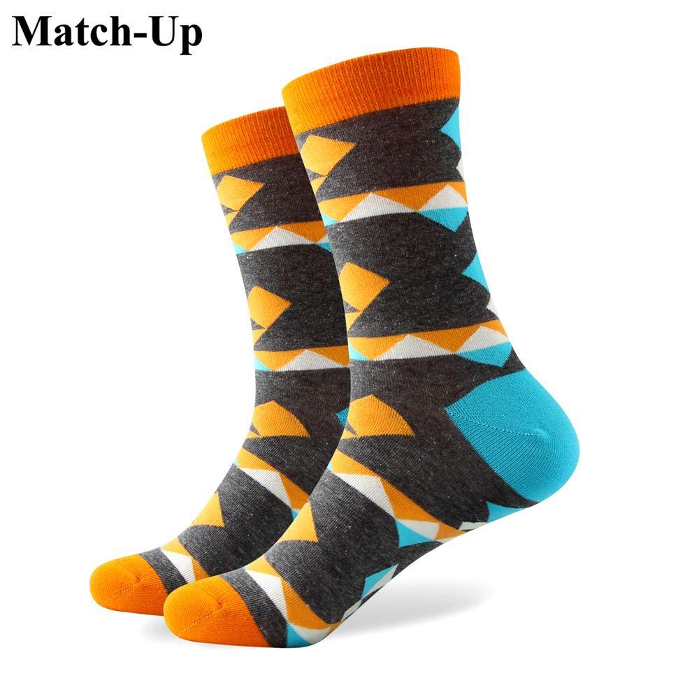 2016 heren gekamd katoen merk mannen sokken, kleurrijke geruite sokken, verzending gratis, US Size (7.5-12) 328