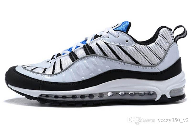 Acheter 2018 Nike Air Max Airmax 98 Blanc Hologramme Irisé Junior Or Superstars Sneakers Originaux Super Star Femmes Hommes Sport Casual Chaussures 36