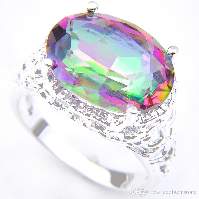 Luckyshine 6 Teile / los Heißer Verkauf 925 Silber Multi-color Regenbogen Natürliche Mystic Topaz Ring Wunderschöne Oval Exquisite Unisex Vintage Ringe