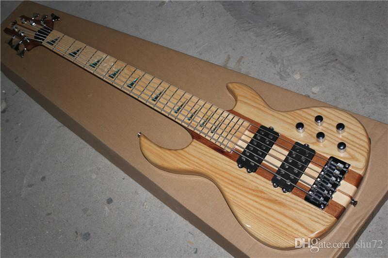 One Piece Neck Through Ash Body 24 frets 6 strings electric bass guitar Maple fingerboard active pickups Free Shipping 1 2