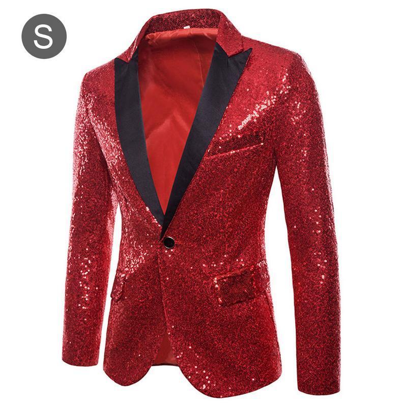 Mens Lantejoulas Patchwork Terno Blazer Jacket 2018 Marca New Masculino Slim Fit DJ Club Stage One Button Blazer Homem Terno de Casamento Formal