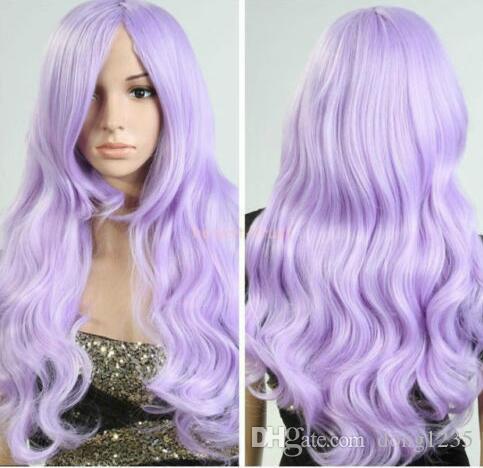 Бесплатная доставка новый высокое качество мода картина парик женщины Лолита светло-фиолетовый волосы длинные волнистые вьющиеся косплей партии полный парик