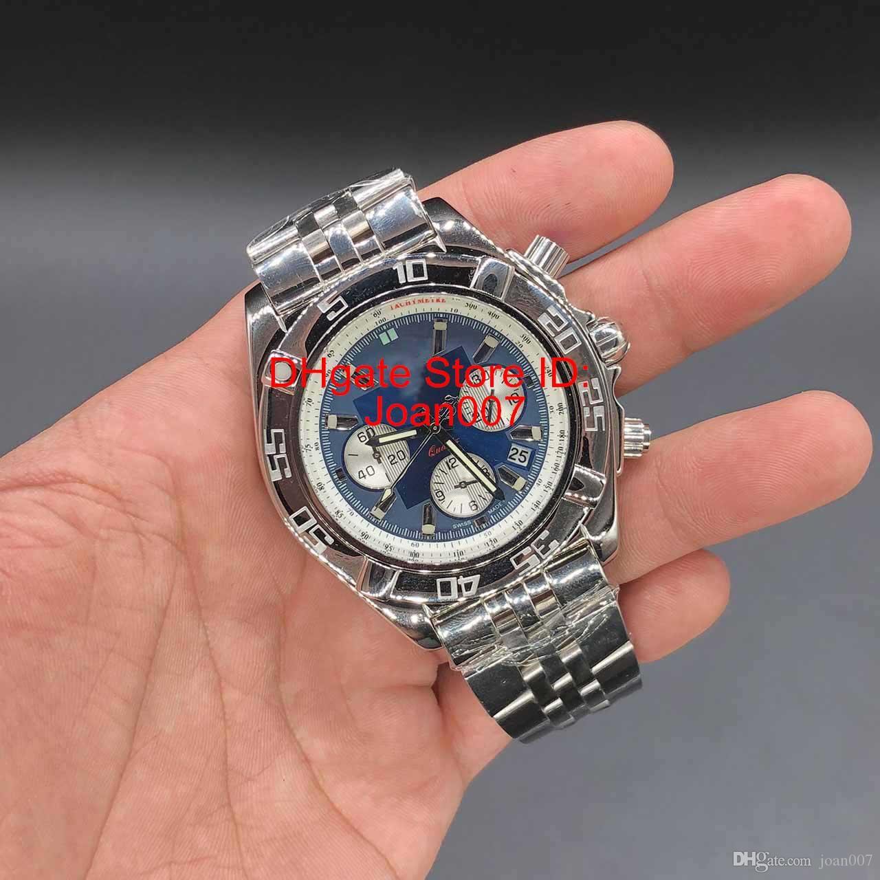 أفضل الساعات ووتش المعصم الأزرق الهاتفي CB110121 كرونوغراف كوارتز حركة الرجال ووتش الفولاذ المقاوم للصدأ سوار الساعات 46MM