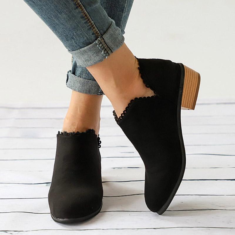 Atacado Outono Botas Femininas Ankle Boots Preto Plus Size 43 Sapatos de Salto Baixo Moda Deslizamento Em Senhoras Botas Curtas Squred Sapatos de Salto J41