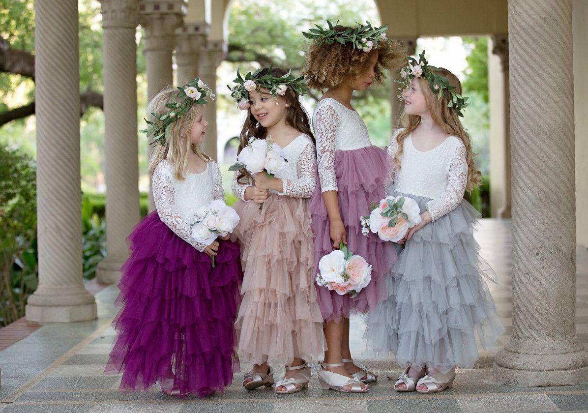 Christmas Girls party dress Children flowers lace tulle tutu dresses girls V-neck long sleeve long dress kids wedding princess dress A00008