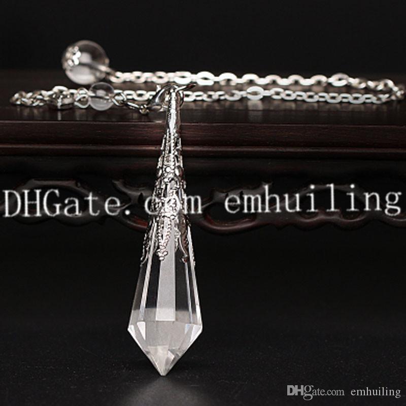 1Pcs Hand Carved Natural Clear Quartz Gemstone Chakra Dowsing Pendulum Reiki Balance Meditation Jewelry with Silver Plated Copper Bail