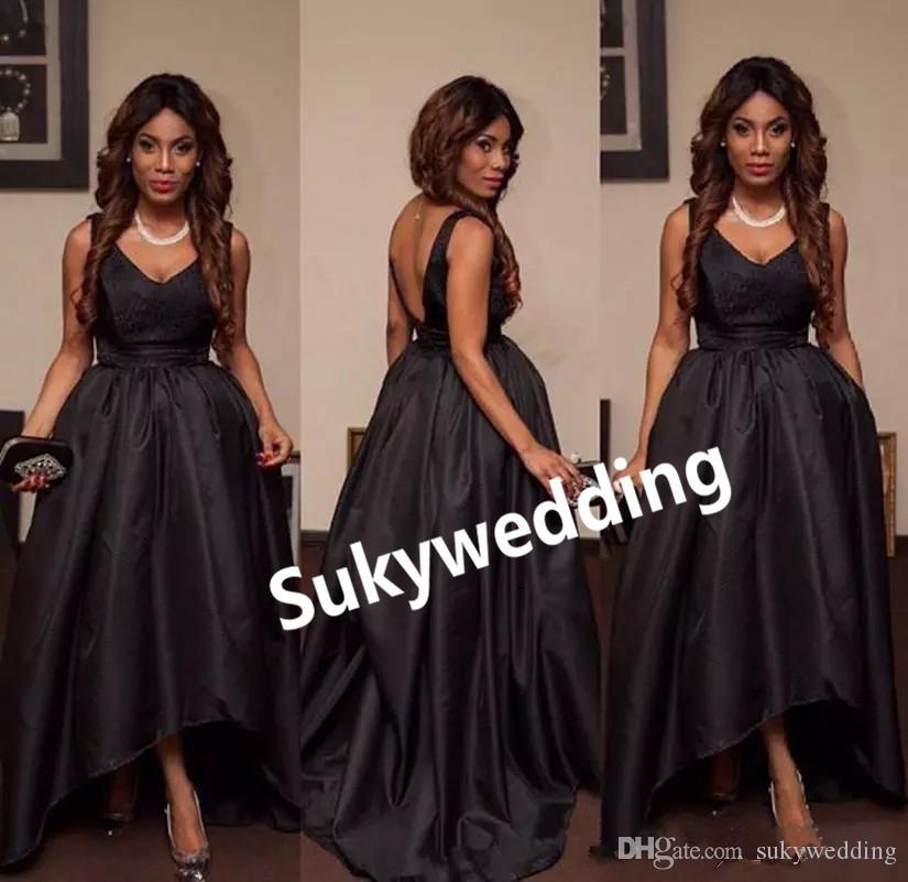 Schwarz hohe niedrige Abschlussball-Kleider Plus Size Satin A-Line Frauen-formale Partei-Kleid-Abend-Abnutzung V Ansatz Backless Abendkleider nach Maß