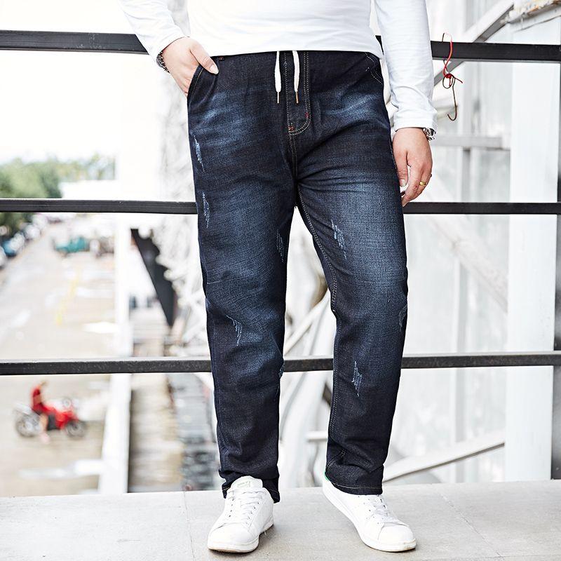 Large Big Size M-8XL For 155KG Men Jeans Business Casual Slim Fit Blue Jeans Stretch Denim Pants Trousers Classic Cowboys 2018