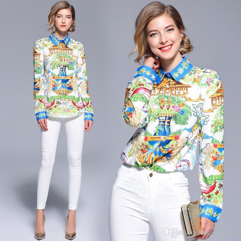 2019 Summer Fall Runway Moda de lujo Estampado barroco OL Mujeres Damas Casual Botón de oficina Cuello de solapa superior Camiseta de manga larga Blusa